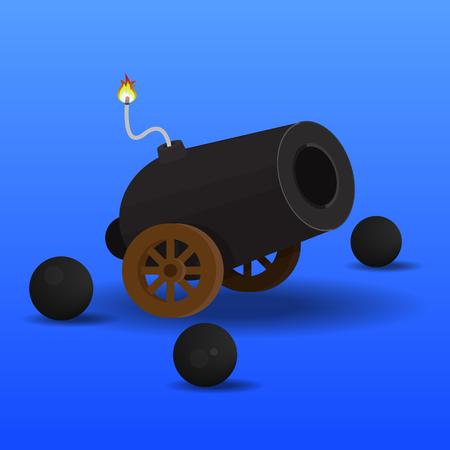 Cannon icon vector flat design.