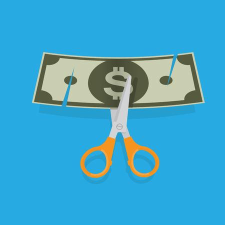 Cutting money. Vector illustration. Illustration
