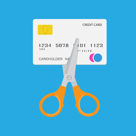 ciphers: Cutting up credit card. Vector illustration.