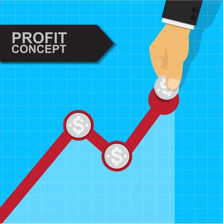 Business growing graph,Profit concept. Иллюстрация