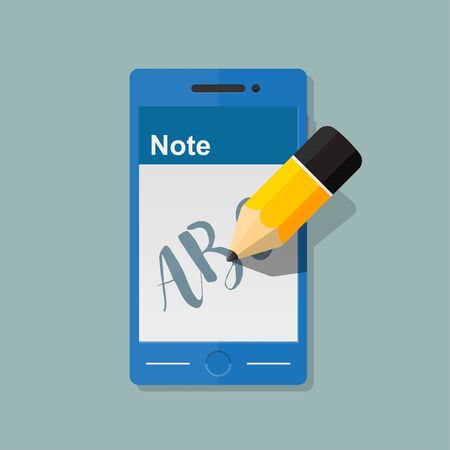 Write text message on smartphone icon,vector flat design. Illustration