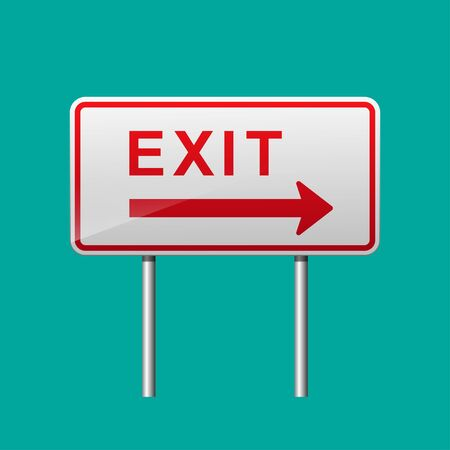 Exit sign on freeway vector illustration.