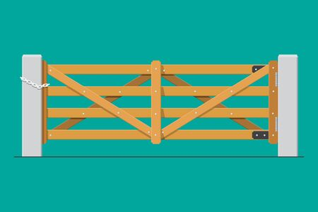 Wooden farm gates vector flat design.