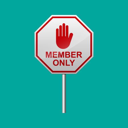 Members only sign vector illustration.