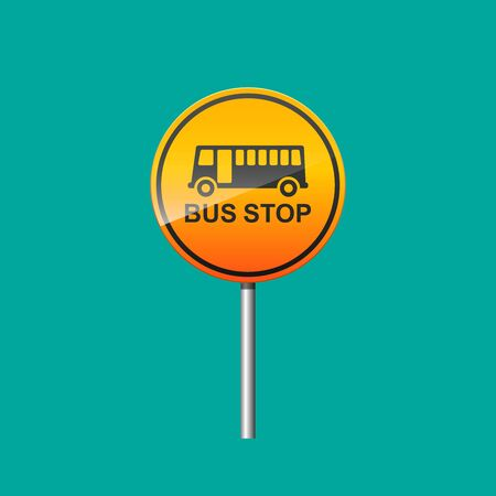 Bus stop sign vector illustration.