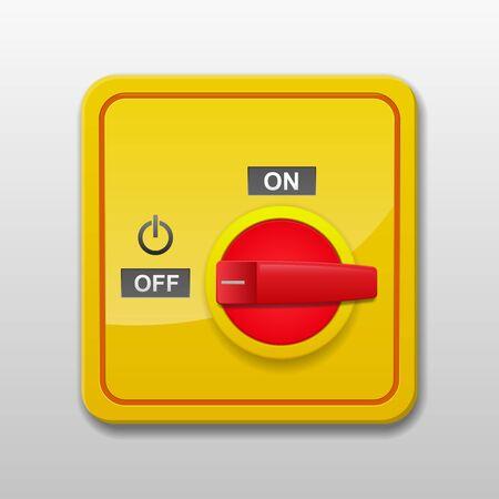 Main power switch vector illustration.
