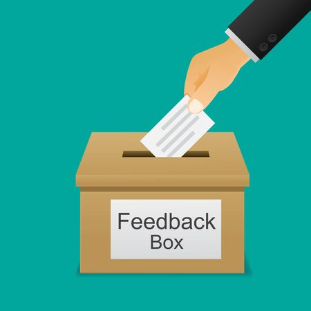 Hand putting paper in the feedback box. Vectores