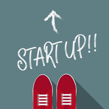 Startup concept,start up word on the floor. Illustration