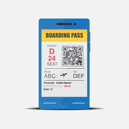 Mobile boarding pass.Vector flat design.