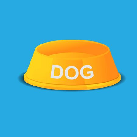 Empty dog food bowl dish vector illustration. Illustration