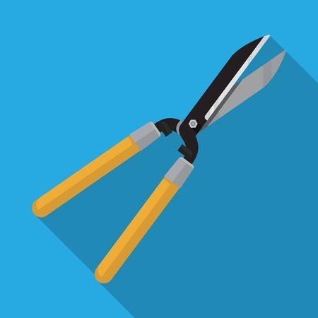Forbici da potatura forbici per siepi con manico lungo in legno per giardino, design piatto vettoriale.