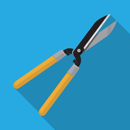 Pruning scissors hedge shears clippers with long wooden handle for garden,Vector flat design. Illustration