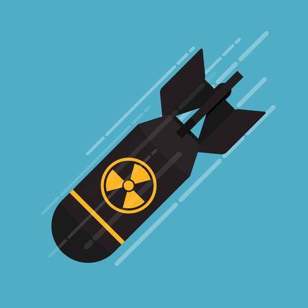 Nuclear bomb icon vector flat design. Illustration