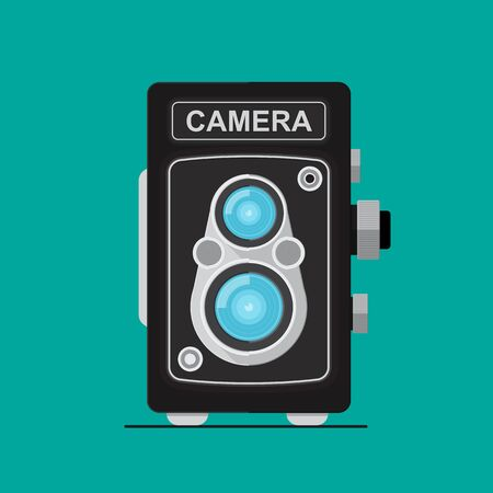 Vintage twin lens camera vector flat design.