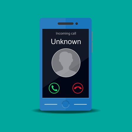 Unknown number calling vector flat design.