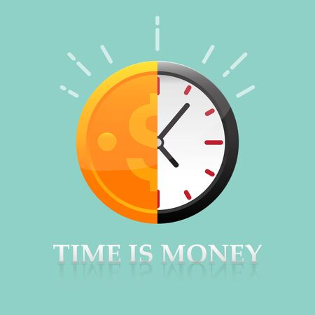 Time is money concept vector illustration.