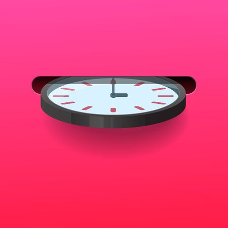 Insert clock into the slot,Time saving concept,Vector illustration. Stock Illustratie