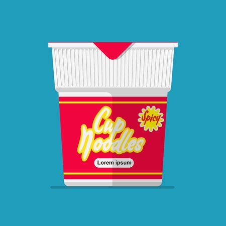 Spicy cup noodles vector flat design.
