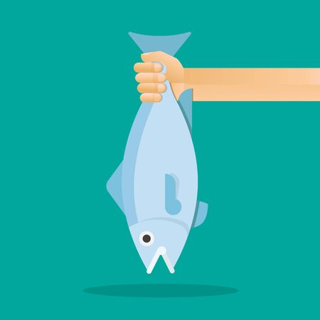 Hand holding a big raw fish vector flat design.
