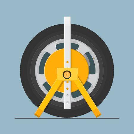 Car steel wheel lock vector flat design. Vektoros illusztráció