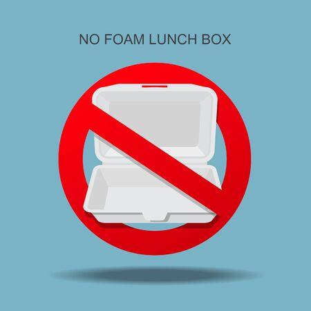 No foam lunch box sign vector illustration.