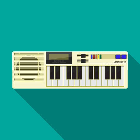Retro electric piano vector flat design. Stock Illustratie