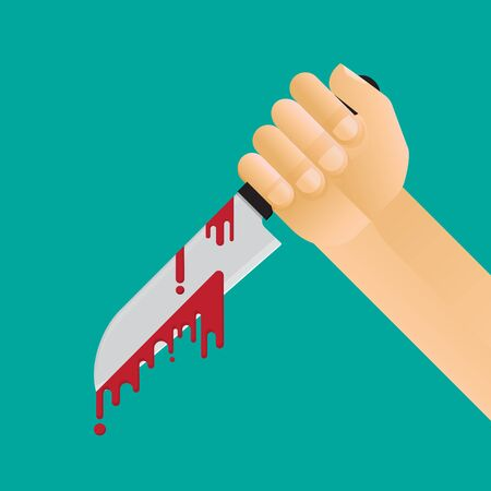 hand holding knife with blood vector flat design.