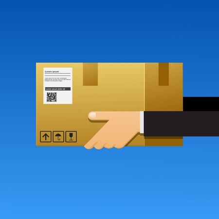 hands of businessman holding package to deliver. Ilustração