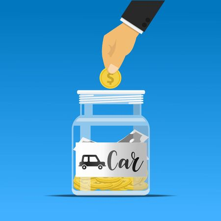 Hand dropping a coin into the carjar.