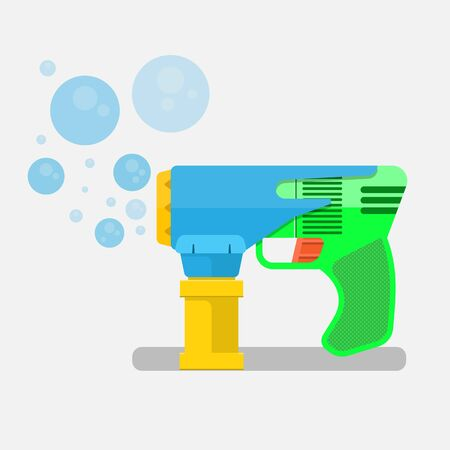 soap bubbles gun vector flat design.