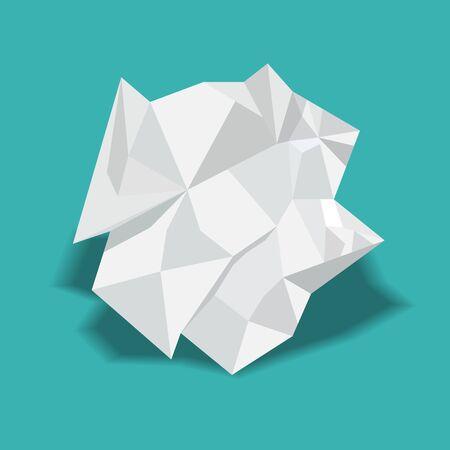 Crumpled paper ball vector illustration. Illustration