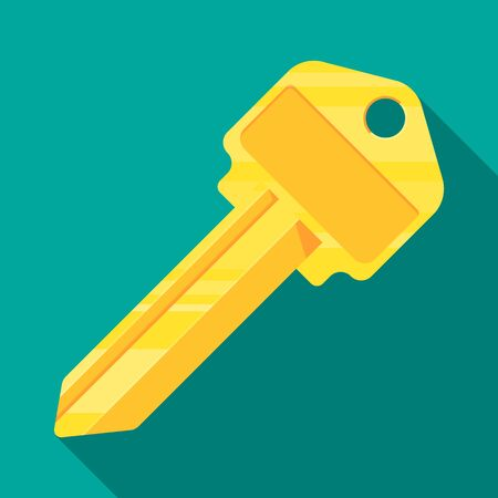 brass key blank vector flat design. Illustration