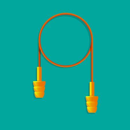 orange ear plugs vector illustration.