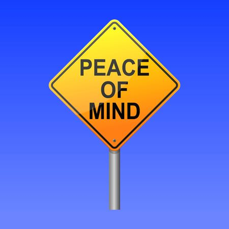 Peace of mind road sign concept.
