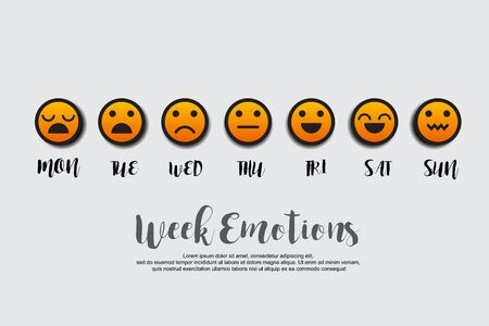 Week emotions vector illustration. Illusztráció