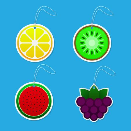 Fruit tags vector illustration.
