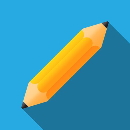 Short pencil sharpened on both side. Vector Illustration