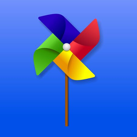 Paper windmill toy vector illustration.
