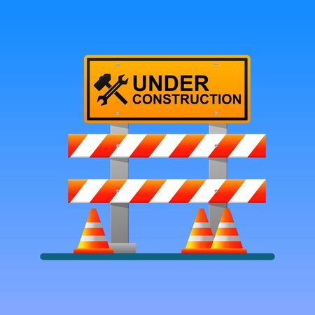 Under construction sign vector illustration. Stock Illustratie
