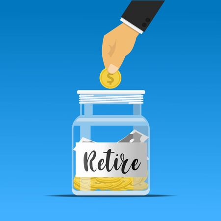Hand putting coins in retirement money jar vector illustration. Ilustração
