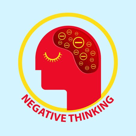 Negative thinking icon vector illustration.