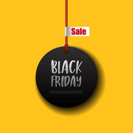 Black Friday sale black tag vector illustration.