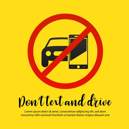 Don't text and drive vector illustration.