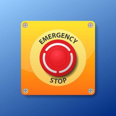 Illustrazione di vettore del pulsante di arresto di emergenza. Vettoriali
