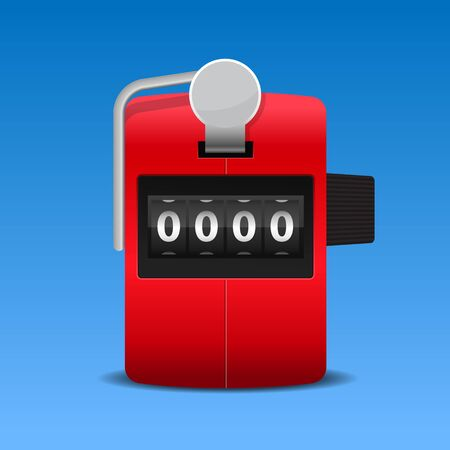 Red hand tally counter vector illustration.