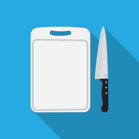 Plastic chopping board and knife icon.