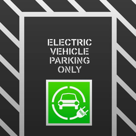 Electric vehicle parking vector illustration.