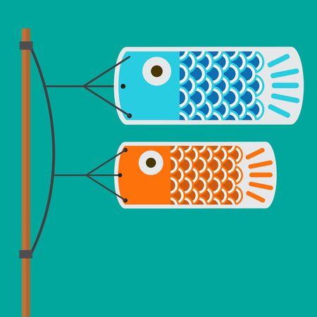 koi fish flag vector flat design. Illustration