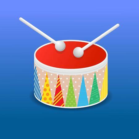 Toy drum icon vector illustration.