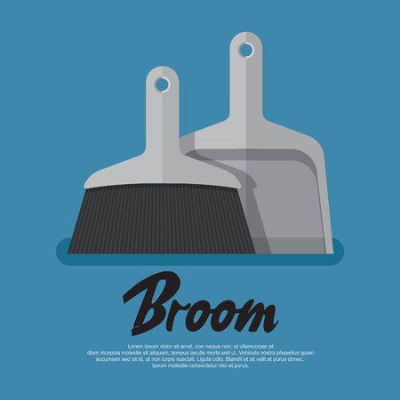 Broom vector icon vector flat design.